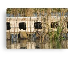 duck laying boxes (with eggs) Canvas Print