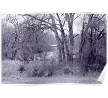 Old Barn Landscape - Monochrome Poster