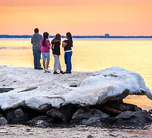 On the Ice at Sunset by Mikell Herrick