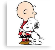 Snoopy and Charlie Hug Metal Print