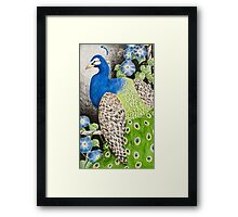 Peacock With Morning Glory Framed Print