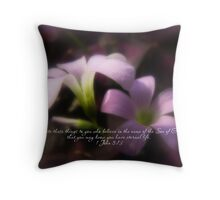 Easter Scripture Greeting Card - Pink Oxalis Throw Pillow