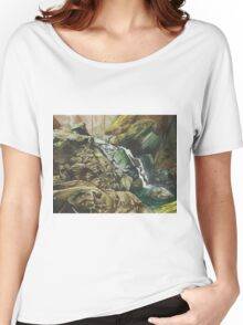 Independence Trail stream, Nevada City CA - watercolour Women's Relaxed Fit T-Shirt