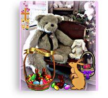 Teddy Gets An Easter Basket Canvas Print