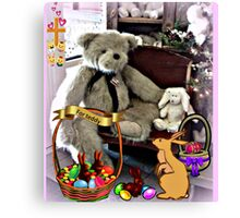 Teddy Gets An Easter Basket Canvas Print