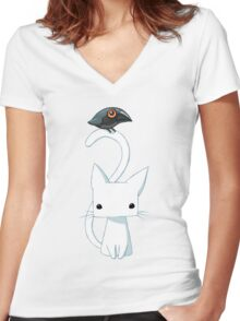 Cat and Raven Women's Fitted V-Neck T-Shirt