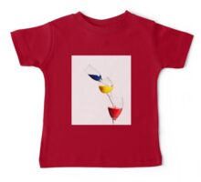 Falling glasses of paint on white background High speed photography  Baby Tee