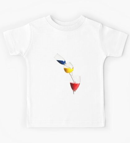 Falling glasses of paint on white background High speed photography  Kids Tee