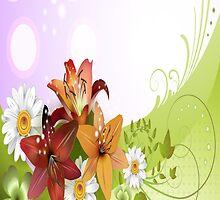 Red, Orange and White Flowers iPad Case by AdrianeJ