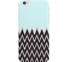 Trendy teal black pink faux glitter chevron iPhone Case/Skin