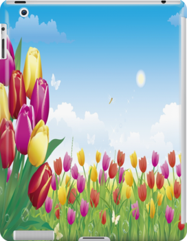Pink, Yellow and Red Tulips iPad Case by AdrianeJ