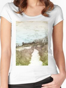 Coastal path at Crail in Fife, Scotland [Colour version] Women's Fitted Scoop T-Shirt