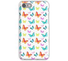 Cute stylish vintage orange aqua butterfly pattern  iPhone Case/Skin
