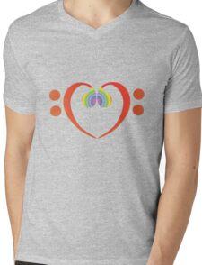 BASS HEART RAINBOW Mens V-Neck T-Shirt