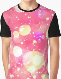 Girly Pink & Vintage Yellow Sparkly Bokeh Pattern Graphic T-Shirt