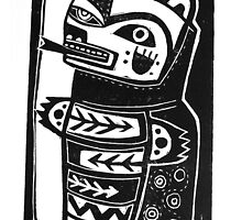 HON the Kachina Bear linocut by craftyhag