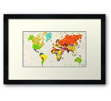 maps pointilism World Map with leaves Framed Print