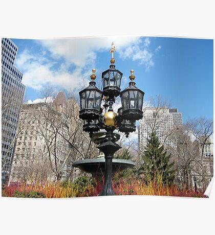Classic Lamp, City Hall park, Lower Manhattan, New York City Poster