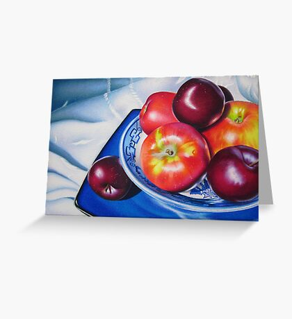 Fruit on blue china Greeting Card