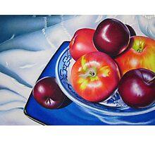 Fruit on blue china Photographic Print
