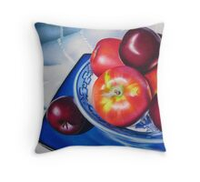 Fruit on blue china Throw Pillow