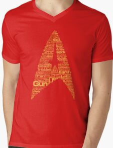 Star Trek The Original Series typography (red) Mens V-Neck T-Shirt