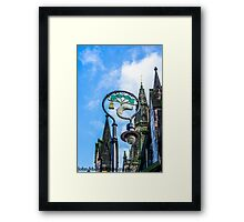 lamppost with symbols of Glasgows coat of arms. Framed Print