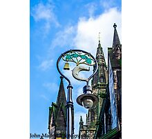 lamppost with symbols of Glasgows coat of arms. Photographic Print
