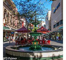 Rundle Mall - Fountain, cafe, Looking down the Mall Photographic Print