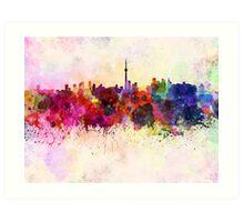 Toronto skyline in watercolor background Art Print