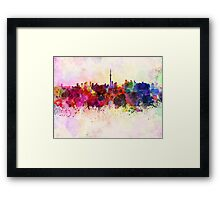 Toronto skyline in watercolor background Framed Print