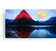 red mountain and the moon Canvas Print