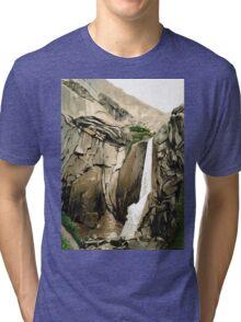 Bridal Veil Falls, Yosemite NP - watercolour painting Tri-blend T-Shirt