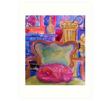 Pink Cat in Green Chair Art Print
