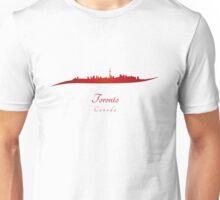 Toronto skyline in red Unisex T-Shirt