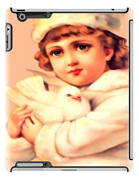 Vintage Blond Girl Holding a Dove - iPad Case by AdrianeJ