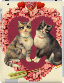 Vintage Two Kittens and a Cupid Heart - iPad Case by AdrianeJ