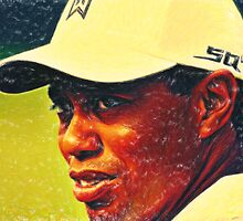 tiger woods 2 crayons by Adam Asar