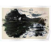 Waterfall in the high mountain Poster
