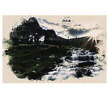 Waterfall in the high mountain Photographic Print