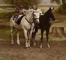 Vintage Little Girl , Boy and Two Horses - iPad Case by AdrianeJ