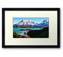 Torres del Paine National Park and the Llama, Chile Framed Print