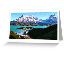 Torres del Paine National Park and the Llama, Chile Greeting Card