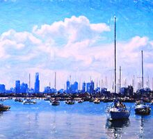 urban marina pastel by Adam Asar
