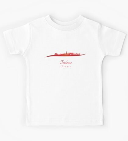 Toulouse skyline in red Kids Tee