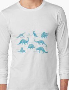 Dinosaur montage - Blue Long Sleeve T-Shirt