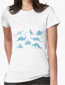 Dinosaur montage - Blue Womens Fitted T-Shirt