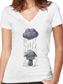 Pouring Women's Fitted V-Neck T-Shirt