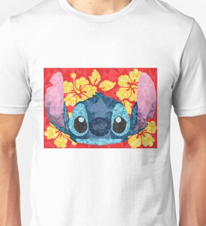 Geometric Stitch with Hawaiian Flowers  Unisex T-Shirt