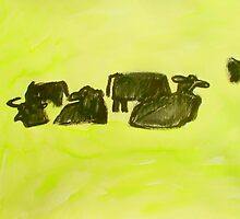 herd of cows relaxing in lush pasture by donna malone
